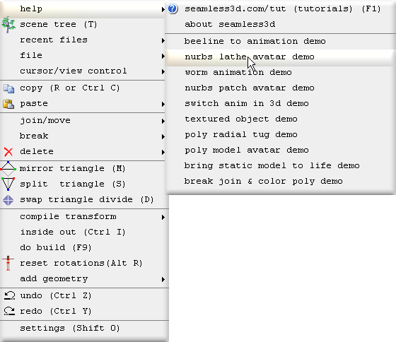 Seamless Demo_menu